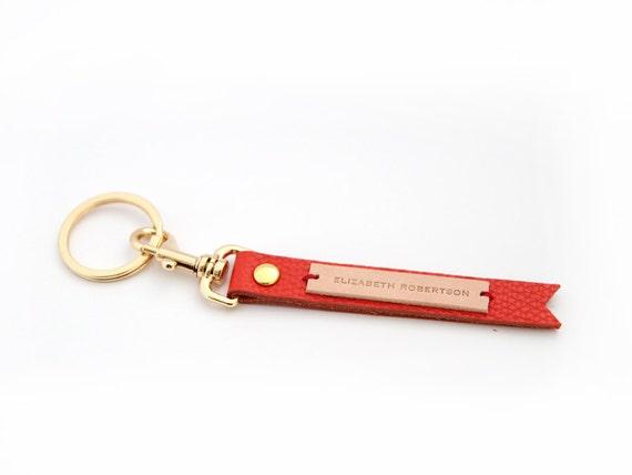 Orange leather custom made keyring Personalized keychain  a07820afde9e