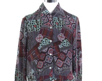 Baroque ladies blouse, grey/turquoise/violet tones, animalier and majolica allover motif, unusual elastic waist band.