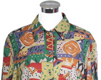 Indie rocket Multicolour dull colours abstract shirt / blouse made in Germany in the 1980s and branded Chris F B, minty.