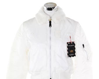 Alpha Industries Type MA-1 NOS white flight bomber jacket with faux fur collar, new with tags, size S