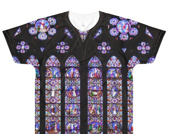 Psychedelic fractal Cathedral Stained Glass allover print t shirt, available on t shirt to tank top