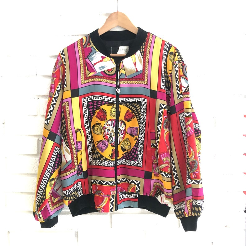 05803fb3e Baroque satin bomber jacket with a cool Versace Teatro inspired allover  print, made in Canada, minty.