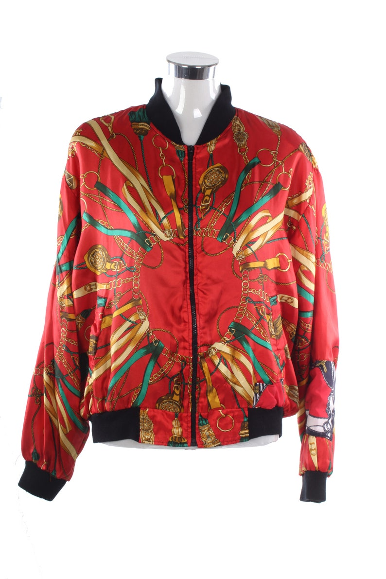 4808d949f Vintage red baroque versace style silky scarf print bomber jacket