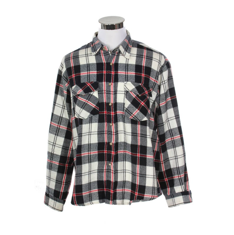 82e75dba3936 Hip checkered flannel shirt black white red wool winter