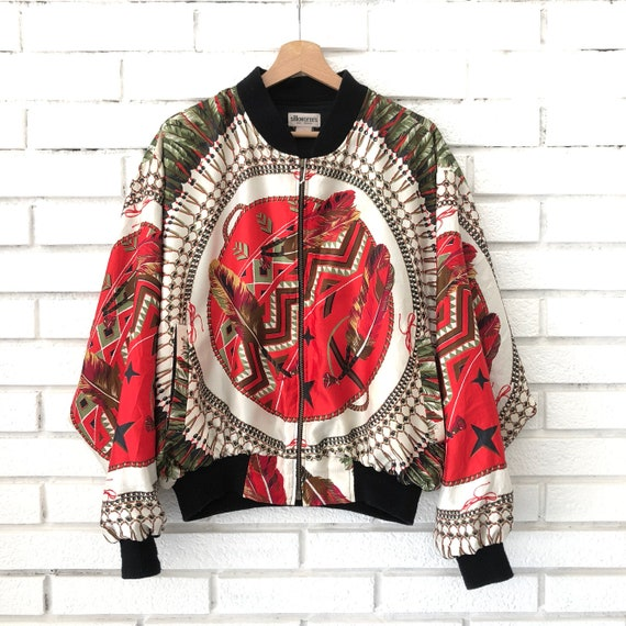 Silkworm Baroque Satin Bomber Jacket With A Cool Versace Etsy