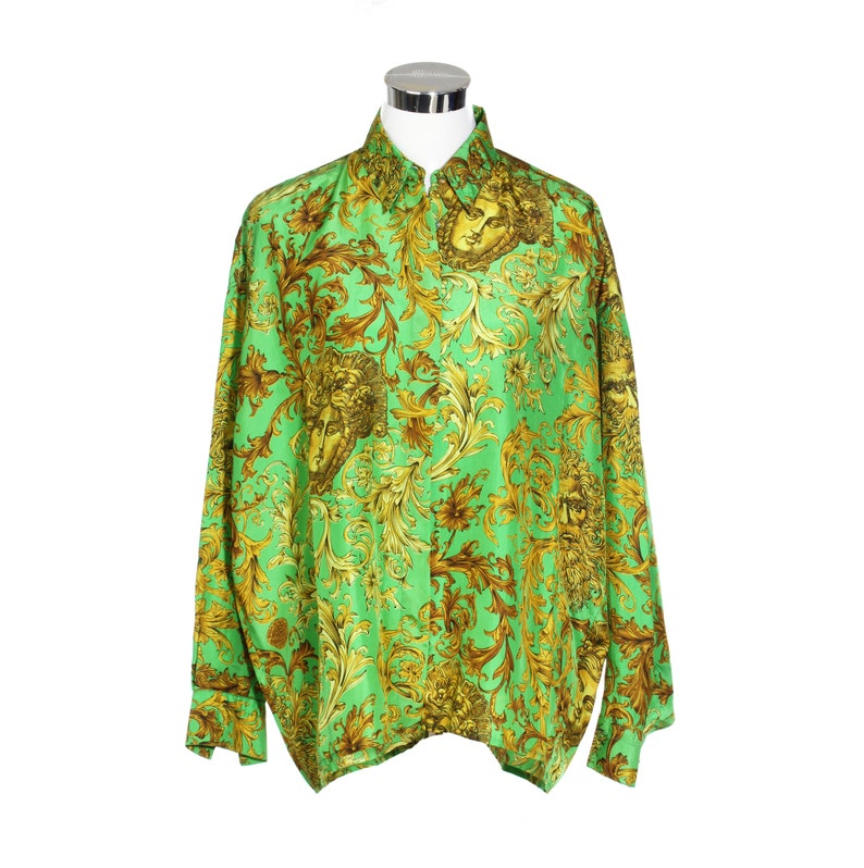 0184f853e6606 90s Gianni Versace Jeans Couture pure silk shirt golden