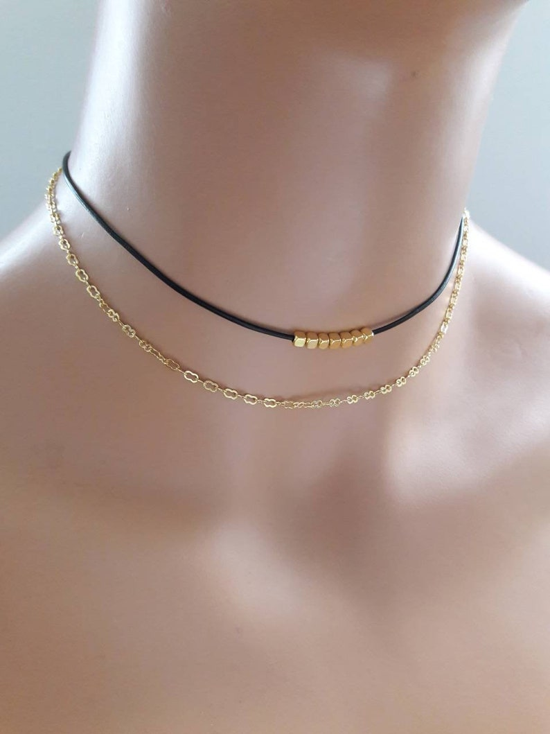 edb54aa03427 Gold choker necklace18K gold plated chain choker