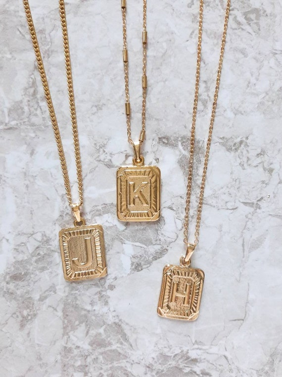 Gold initial necklace Initial choker A to Z letter necklace Square letter necklace Letter necklace Name necklace Gift idea