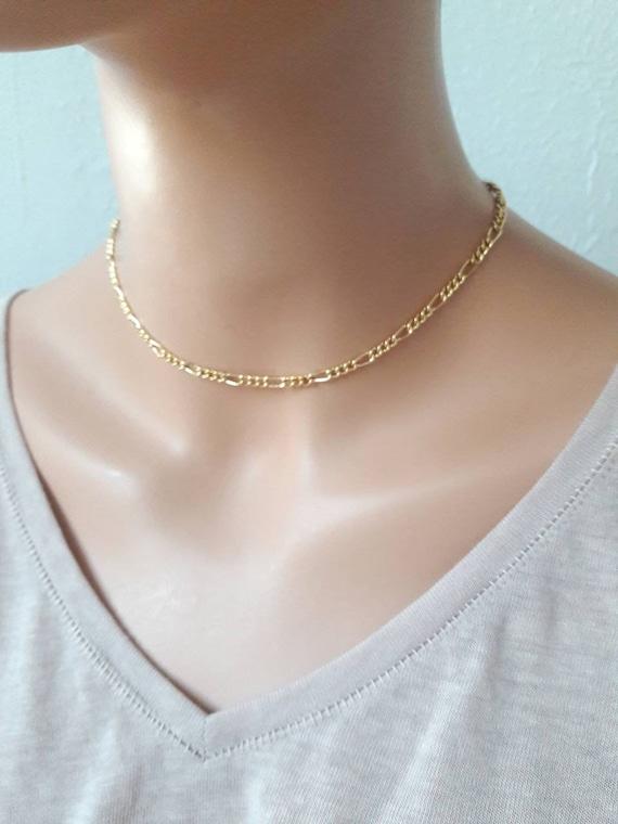 Dainty Gold Necklace Minimalist Jewelry Figaro Chain Choker Necklace Bohemian Lace Choker Layering Necklace Simple Chain Choker