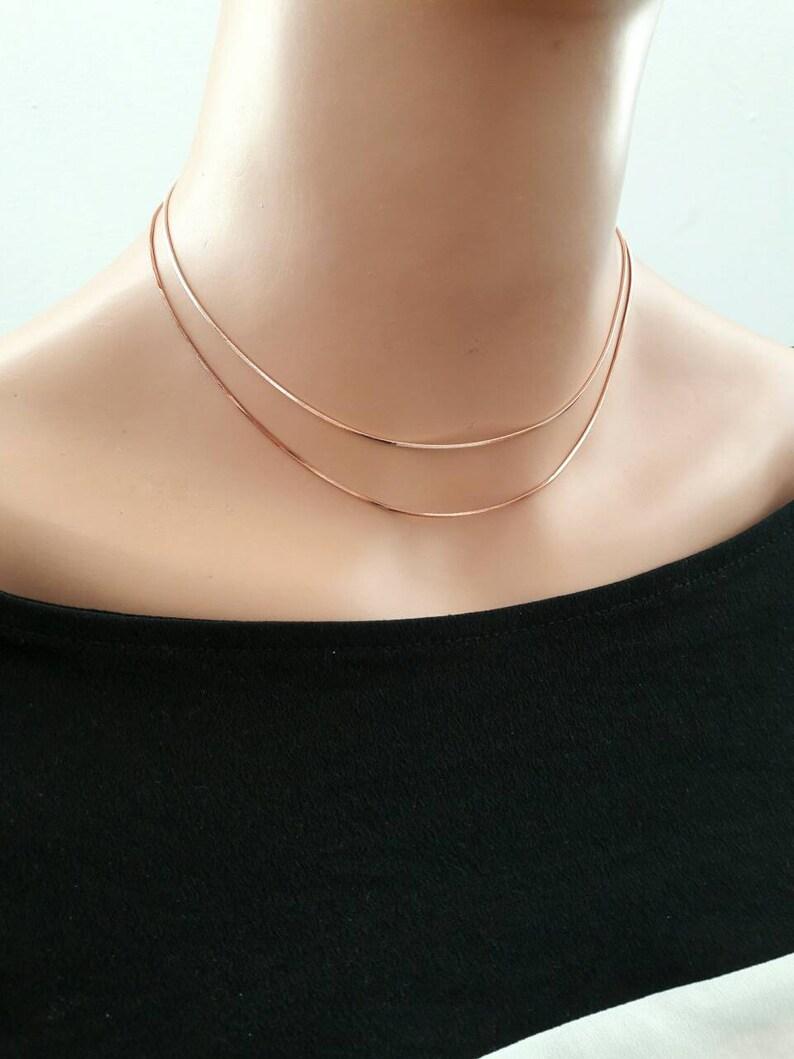 c55909ac4c83f layered rose gold chain choker necklace,rose gold snake chain choker,multi  chain choker,double choker,shimmer choker,simple choker,gift idea