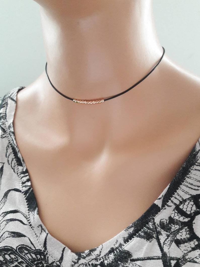 Rose gold choker necklace,rose gold beaded choker,simple choker,minimalist choker,dainty choker,layering necklace,black leather choker