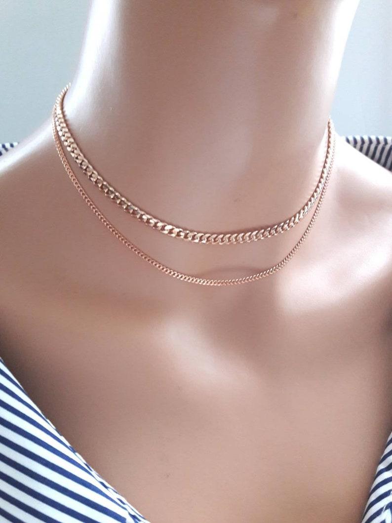 71dcfd565cada Rose gold chain choker necklace,layered chain choker necklace,thick chain  necklace,two strand,multi chain,boho choker,dainty chain choker