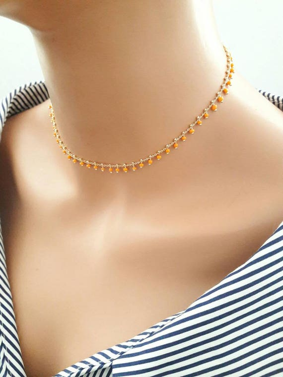 2f321a34f075 18K gold plated chain choker necklaceorange beaded