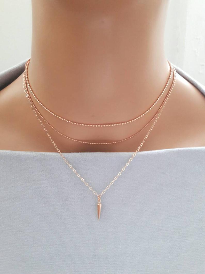 e8190d858d325 rose gold layered choker,triple strand necklace,bullet choker,dainty  choker,rose gold ball chain choker,triple layer chain choker necklace