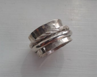 Hammered silver spinner ring, Silver spinner ring, Wide band spinner ring, Sterling silver spinner ring, Spinner ring,