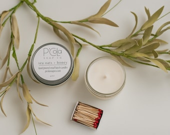 Handmade Candle, 4oz Coconut Soy Blend Candle, Sea Oats + Honey Candle, Hand Poured Candle