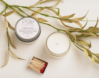 Handmade Candle, 4oz Coconut Soy Blend Candle, Santa Rosa Candle, Hand Poured Candle