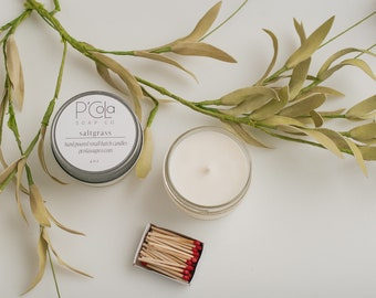Handmade Candle, 4oz Coconut Soy Blend Candle, Saltgrass Candle, Hand Poured Candle
