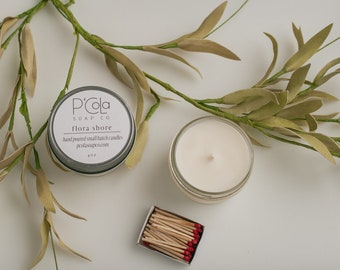 Handmade Candle, 4oz Coconut Soy Blend Candle, Flora Shore Candle, Hand Poured Candle