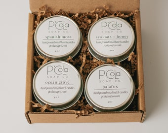 Candle Gift Set - Set of 4 - Coconut Soy Blend Candles- Candle Gifts - Valentines Gift - Candle Sampler - Bridesmaid Gift
