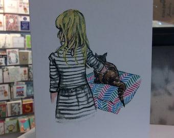 Girl & Cat greetings card