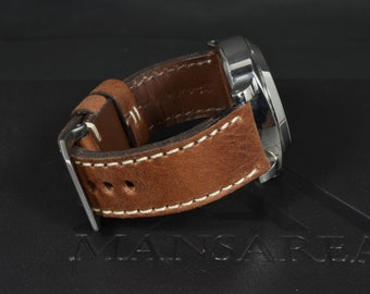 fdd0dbb4de9 MA watch strap 26 24 22 mm Genuine Calf Brown Leather Rubigo II fits  Panerai