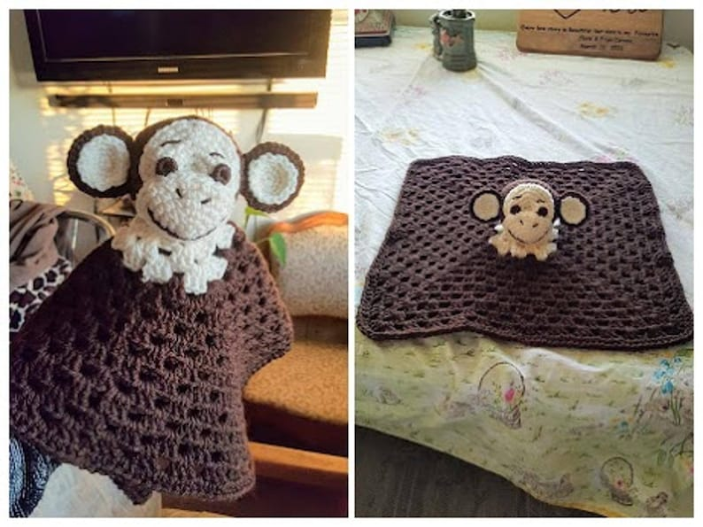 Monkey Loveysecurity Blankettoy Crochet Pattern Etsy