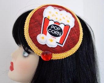 Pillbox Hat Fascinator Bibi Pop Corn Red Rouge