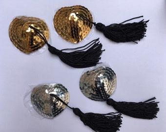 Nippies Cache Tétons Pasties Pompons Doré et Argent Gold and Silver