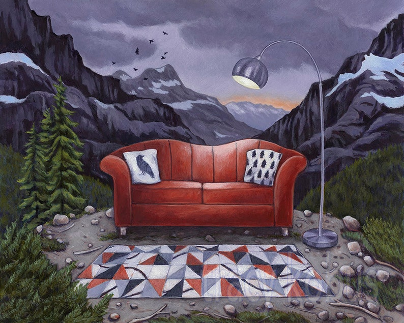 Red Couch in the Mountains Canvas Giclee // Limited Edition image 1