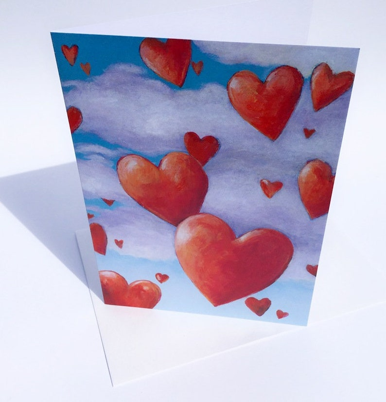 Floating Heart with Clouds Art Card image 0