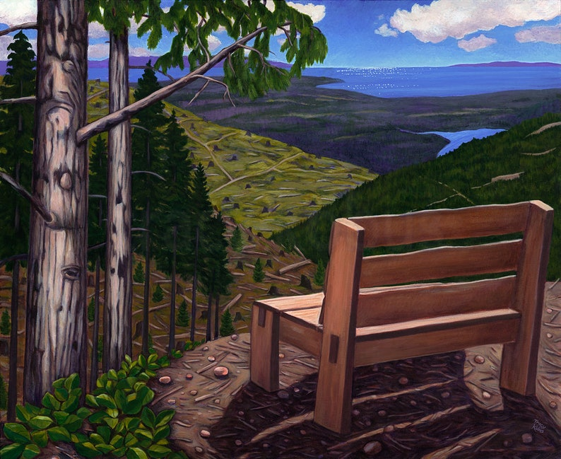 Mountain View with Bench Canvas Giclee // Limited Edition image 0