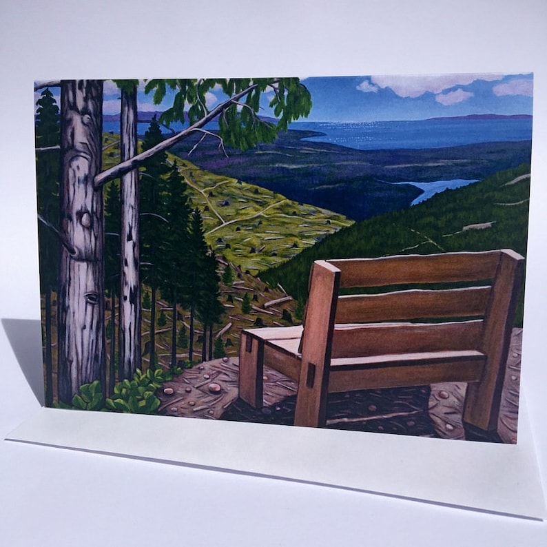 Mountain View with Bench Art Card // Blank Greeting Card image 0