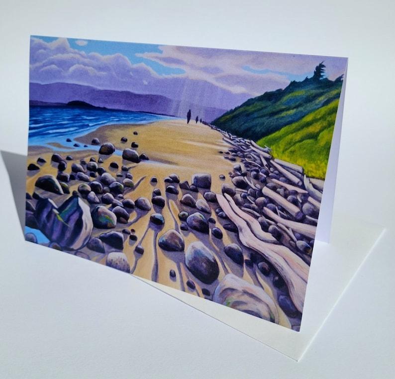 Beach Walk Art Card // Blank Greeting Card image 0