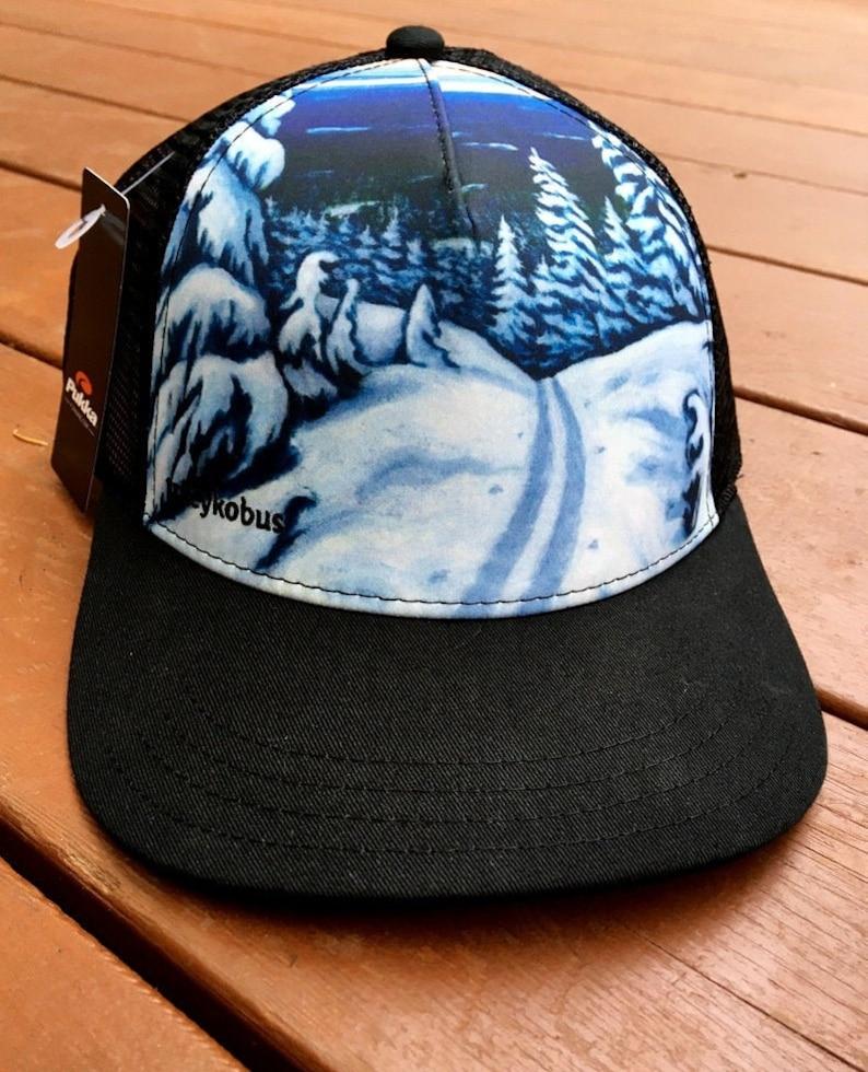 Art Trucker Hat  Winter Scene Black