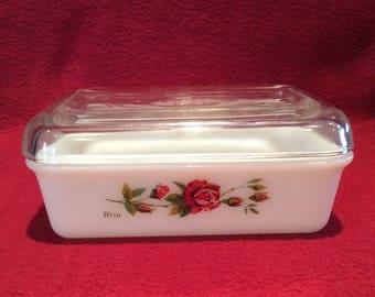 Pyrex JAJ Brio Rose Butter Dish 1963