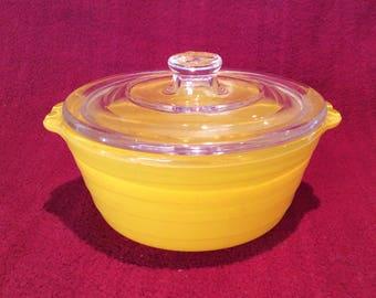 Phoenix Lemon Yellow Sprayware 8oz Casserole Dish circa 1950