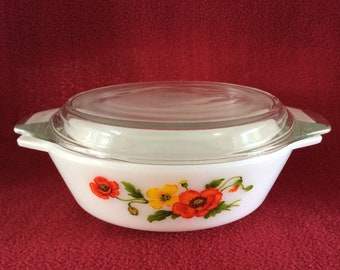 Pyrex Red Poppy Casserole Dish 1 Pint