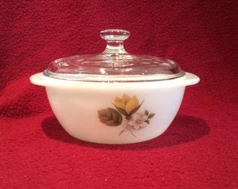"Pyrex JAJ Autumn Glory Dahlia Casserole Dish with Lid 8oz 4 1/4"" diameter"