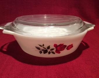 Pyrex JAJ June Rose Casserole dish 1 pint #505 circa 1960