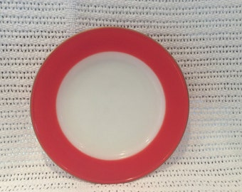 "Pyrex JAJ Weardale Tea Plates in Coral Red with Gold Edges 6 5/8"" diameter"