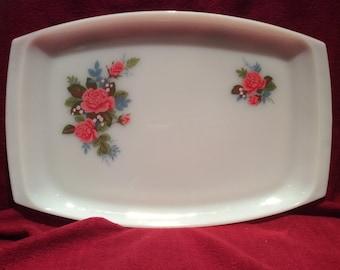 "Pyrex JAJ Cottage Rose Platter Serving Tray 9 3/4"" x 14 5/8"""