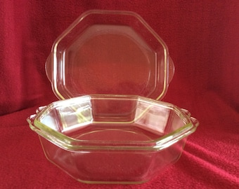 Pyrex Jobling Purser Clear Glass Octagonal Casserole Dish with Lid