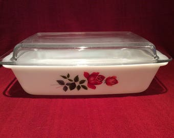 Pyrex JAJ June Roses Oblong Space Saver Casserole Dish circa 1960