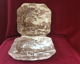"""Johnson Brothers Cotswold Brown Square Dinner Plates 9.5""""x 9.5"""" appx. Set of 2"""