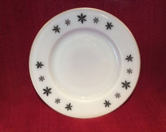 "Pyrex JAJ Gaiety Black Snowflake Salad or Side Plate 8.5"" diameter"