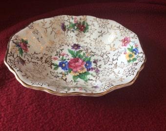 "Midwinter Chintz Semi-Porcelain Dish 4.5""x5.5"""
