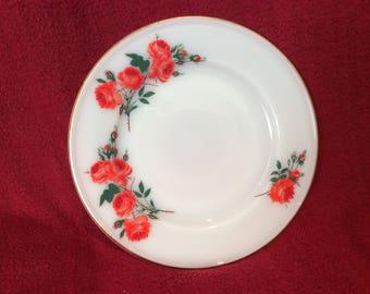 """Pyrex JAJ Rose Tea or Side Plate 6.5"""" Diameter circa 1961"""