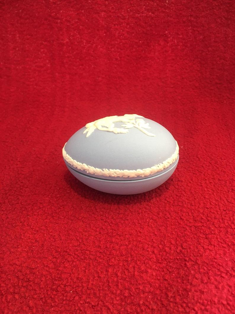 Wedgwood Blue Jasperware Egg Trinket Box 71mm x 48mm