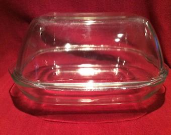 Pyrex JAJ Clear Glass Easy Roast Dish circa 1960